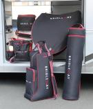 The Bridleway range of luggage including saddle bag , saddle cover ,hat bag , bridle bag , grooming bag .